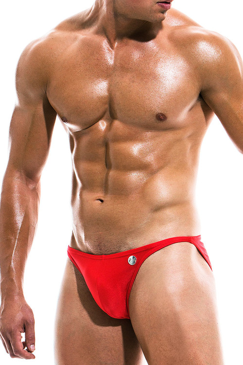 Modus Vivendi Bodybuilding Low Cut Swim Brief BS1911 - Red - Mens Swim Bikini Swimsuits - Side View - Topdrawers Swimwear for Men