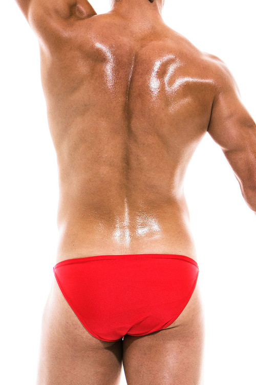 Modus Vivendi Bodybuilding Low Cut Swim Brief BS1911 - Red - Mens Swim Bikini Swimsuits - Rear View - Topdrawers Swimwear for Men
