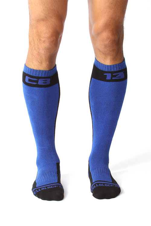 CellBlock 13 Full Throttle Knee High Sock A056 - Blue - Mens Fetish Socks - Front View - Topdrawers Gear for Men