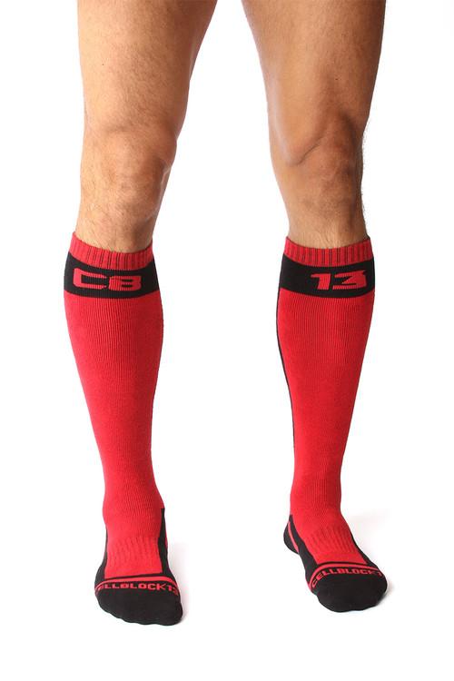 CellBlock 13 Full Throttle Knee High Sock A056 - Red - Mens Fetish Socks - Front View - Topdrawers Gear for Men