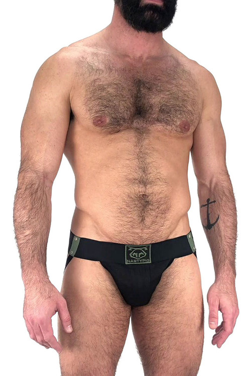 Nasty Pig Outpost Jock Strap 5602 - Black  - Mens Jockstraps - Front View - Topdrawers Underwear for Men