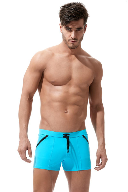 Gregg Homme Exotic Swim Boxer Brief 161205- Aqua - Mens Swim Trunks - Front View - Topdrawers Swimwear for Men