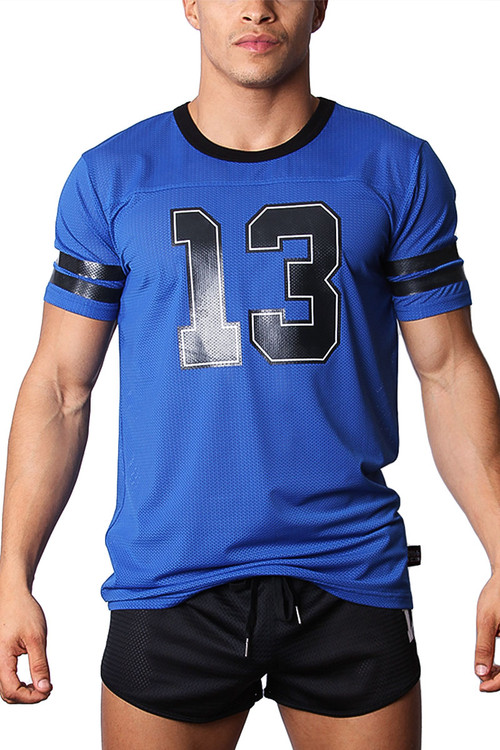 CellBlock 13 Tailback Mesh Jersey CBS123 - Blue - Mens T-shirts - Front View - Topdrawers Clothing for Men