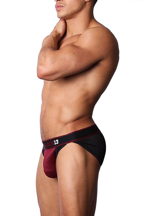 CellBlock 13 Tailback Mesh Hi-Cut Brief CBU144 -Burgundy - Mens Briefs - Side View - Topdrawers Underwear for Men