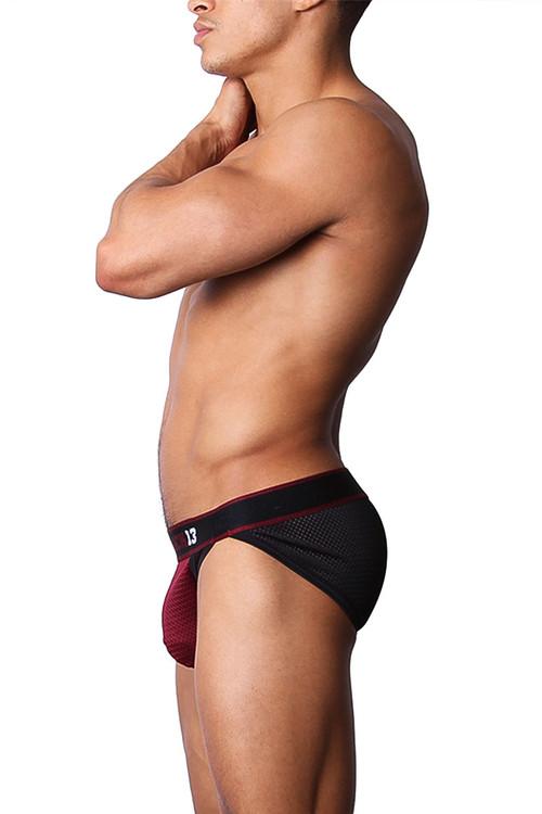 CellBlock 13 Tailback Mesh Hi-Cut Brief CBU144 -Burgundy - Mens Briefs - Rear View - Topdrawers Underwear for Men
