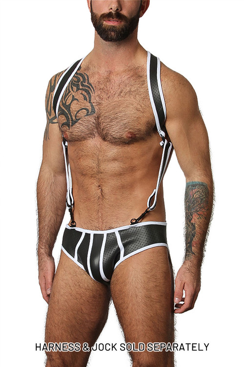 CellBlock 13 Gunner Neoprene Lace Up Jock Brief CBU156-WH White - Mens Jock Briefs - Front View - Topdrawers Fetish Underwear for Men