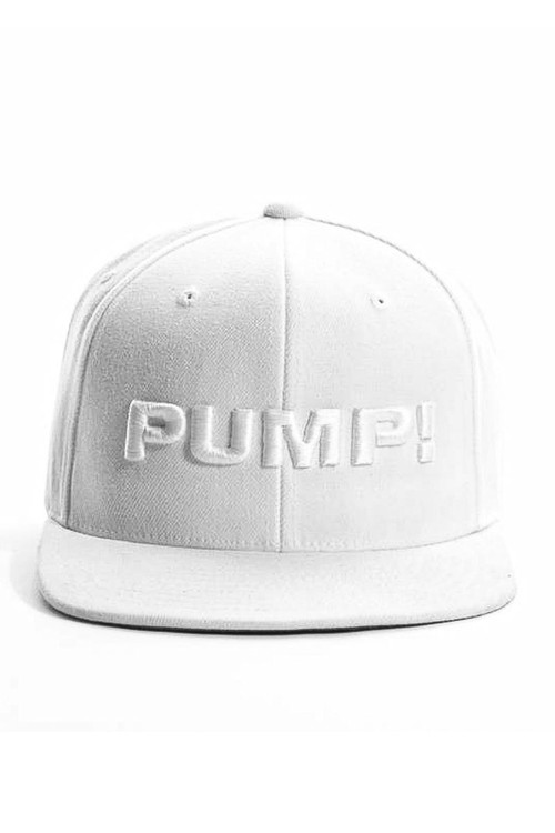 PUMP! All White Snapback 31010 - Mens Caps - Front View - Topdrawers Clothing for Men