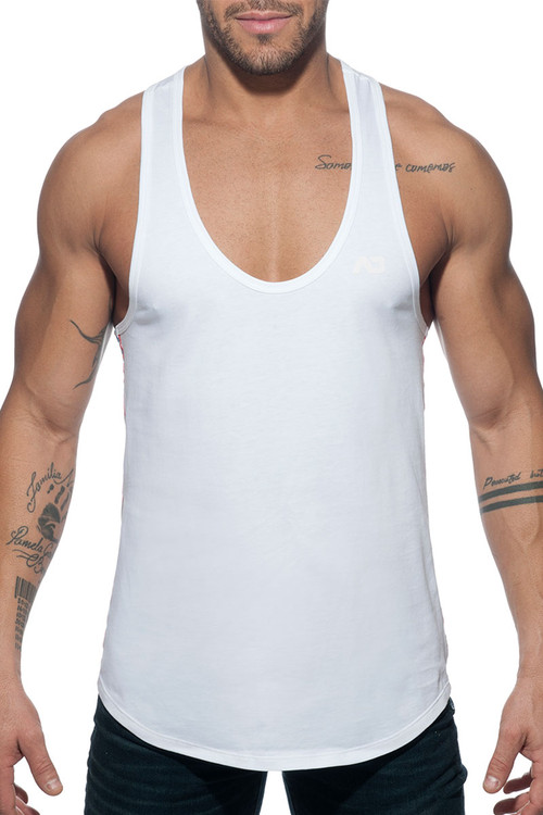 Addicted Flags Tape Tank Top AD777 - 01 White - Mens Tank Tops - Front View - Topdrawers Clothing for Men