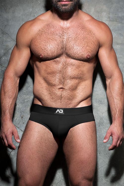 Addicted Fetish Bottomless Fetish Brief ADF92 - BL Black - Mens Jock Briefs - Front View - Topdrawers Fetish Underwear for Men
