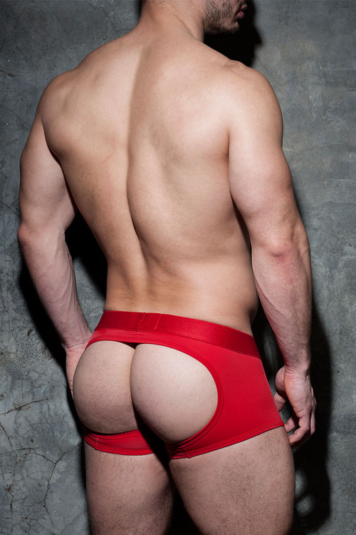 Addicted Fetish Bottomless Fetish Boxer ADF93 - 06 Red - Mens Jock Boxers - Rear View - Topdrawers Fetish Underwear for Men