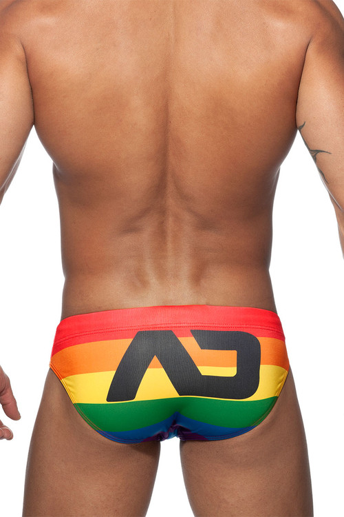 Addicted Rainbow AD Swim Bikini Brief ADS220 - Mens Swim Bikini Briefs - Rear View - Topdrawers Swimwear for Men