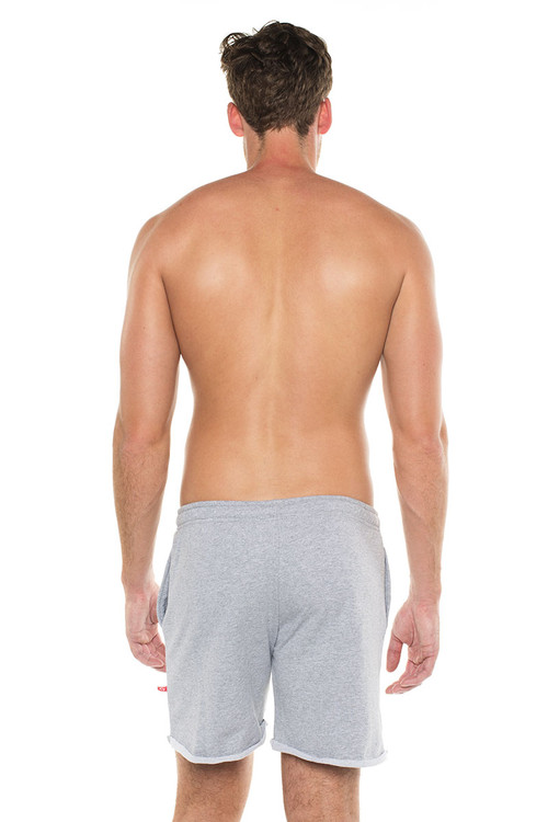Go Softwear West Coast Vibe Warm-Up Shorts 4677- Heather Grey - Mens Athletic Shorts - Rear View - Topdrawers Clothing for Men