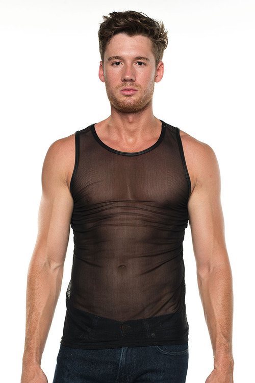 Go Softwear Hard Core Grid Mesh Tank Top 4285 - Black - Mens Tank Tops - Front View - Topdrawers Clothing for Men