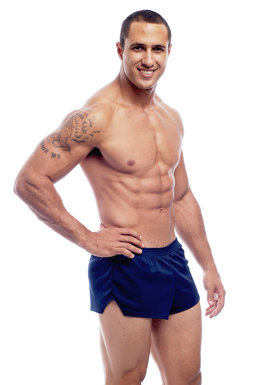 Go Softwear AJ Ultra Running Short 8316 - Navy Blue - Mens Athletic Shorts - Side View - Topdrawers Clothing for Men