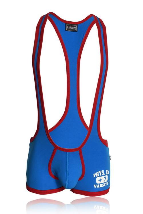 Andrew Christian Phys. Ed. Wrestler Singlet w/ Almost Naked 91148-EBU - Electric Blue - Mens Wrestler Singlets - Garment View - Topdrawers Underwear for Men