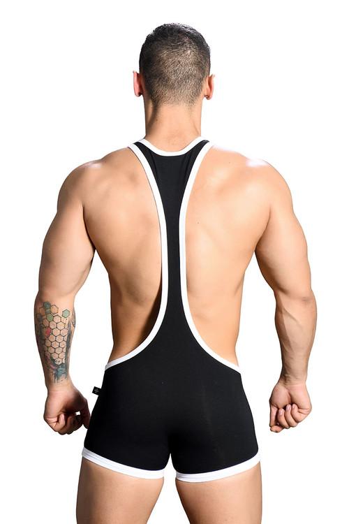Andrew Christian Phys. Ed. Wrestler Singlet w/ Almost Naked 91148-BL - Black - Mens Wrestler Singlets - Rear View - Topdrawers Underwear for Men