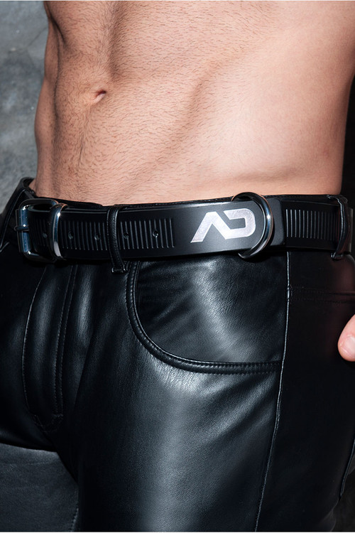 Addicted Fetish AD Fetish Leather Belt ADF120-21 - Silver - Mens Belts - Side View - Topdrawers Gear for Men