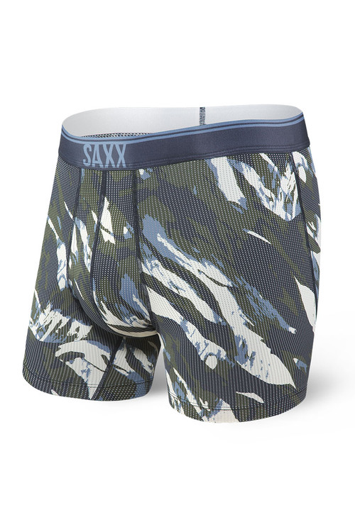 Saxx Quest Boxer Brief w/ Fly SXBB70F-NMC - Navy Mountain Camo - Mens Boxer Briefs - Front View - Topdrawers Underwear for Men