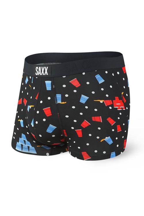 Saxx Vibe Trunk SXTM35-BBC - Black Beer Champs - Mens Boxer Briefs - Front View - Topdrawers Underwear for Men