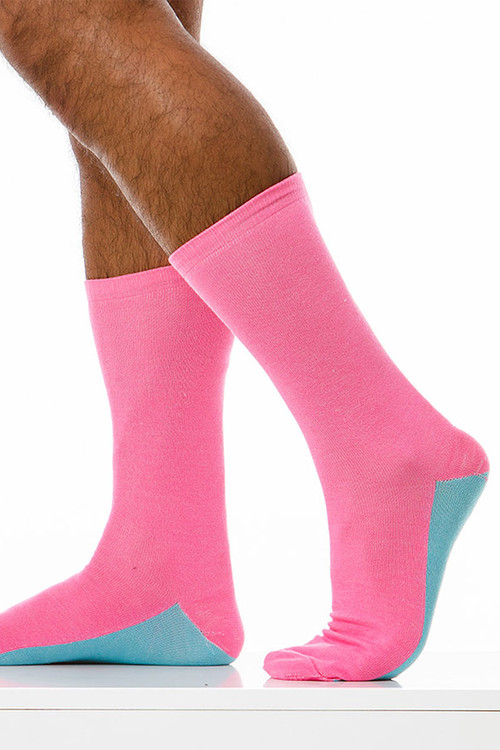 Modus Vivendi Tongue Socks XS1824-FUS - Fuchsia - Mens Long Socks - Side View - Topdrawers Underwear for Men