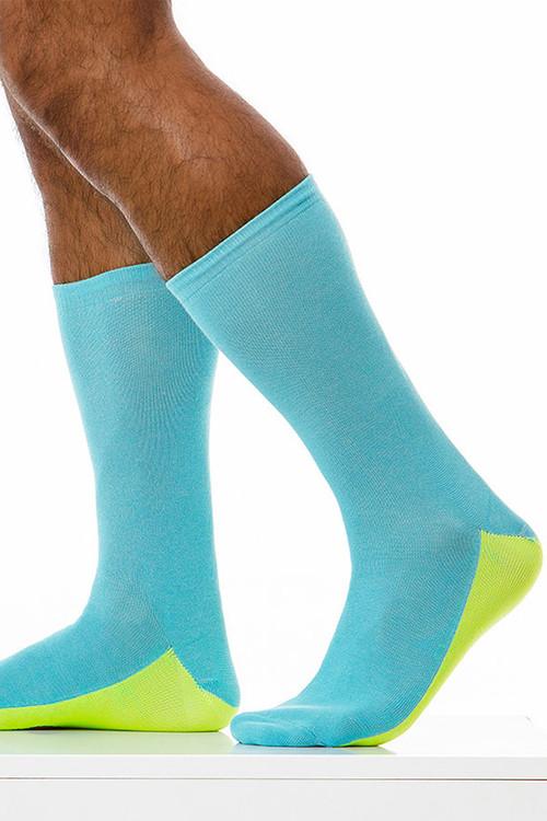 Modus Vivendi Tongue Socks XS1824-AQ - Aqua - Mens Long Socks - Side View - Topdrawers Underwear for Men