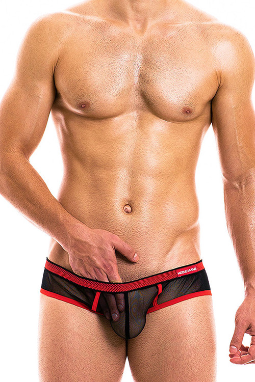 Modus Vivendi Capsule Brief 16912-BLRD - Black/Red - Mens Briefs - Front View - Topdrawers Underwear for Men