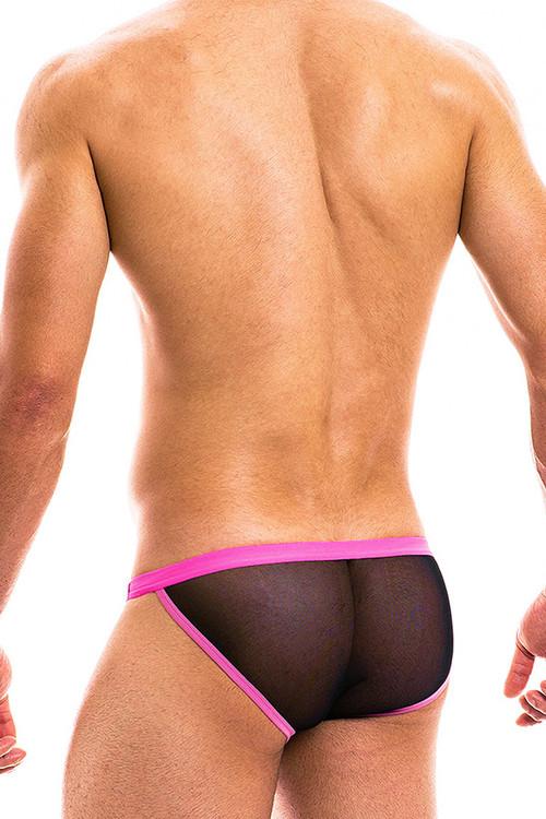 Modus Vivendi Capsule Tanga Brief 16913-BLFU - Black/Fuchsia - Mens Tanga Briefs - Rear View - Topdrawers Underwear for Men