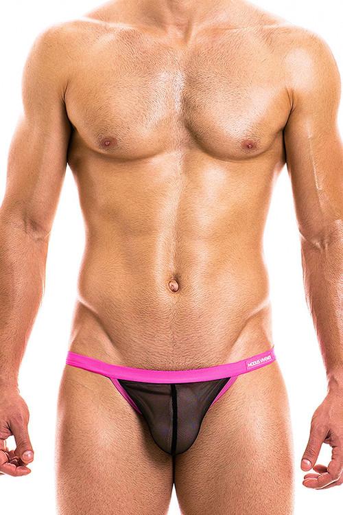 Modus Vivendi Capsule Tanga Brief 16913-BLFU - Black/Fuchsia - Mens Tanga Briefs - Front View - Topdrawers Underwear for Men