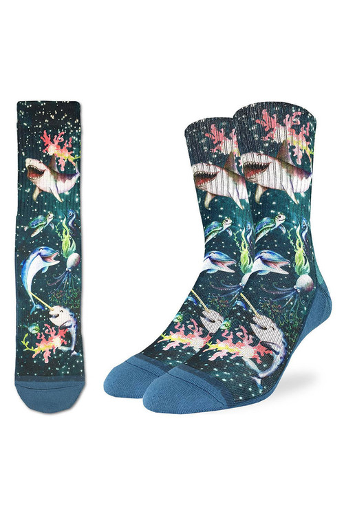 Good Luck Sock Happy Sea Life Active Fit Sock 4171 - Mens Socks - Side View - Topdrawers Underwear for Men