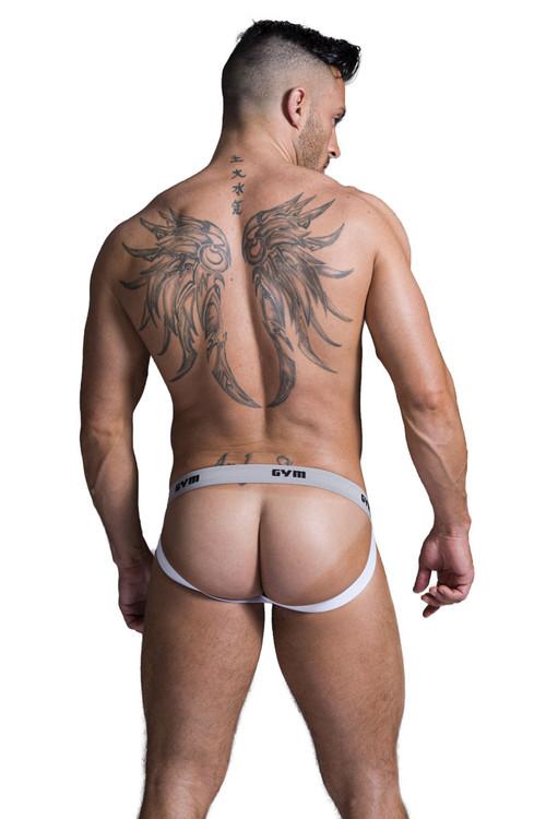 "GYM Jockstrap Swim/Run Jockstrap w/ 1"" Waistband GYM001-HEA - Heather Grey - Mens Athletic Supporters - Rear View - Topdrawers Underwear for Men"