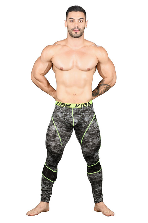 Andrew Christian Vibe Frequency Legging w/ Mesh 91162 - Mens Tights Leggings - Front View - Topdrawers Underwear for Men