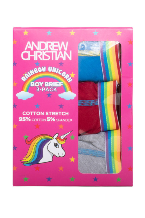 Andrew Christian 3-Pack Unicorn Boy Brief w/ Almost Naked 91184 - Mens Briefs - Box View - Topdrawers Underwear for Men