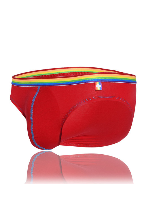 Andrew Christian 3-Pack Unicorn Boy Brief w/ Almost Naked 91184 - Red - Mens Briefs - Garment  View - Topdrawers Underwear for Men