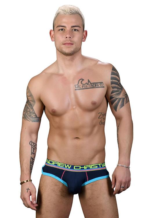 Andrew Christian CoolFlex Modal Locker Room Jock w/ Show-It 91183-NV - Navy Blue - Mens Jock Briefs - Front View - Topdrawers Underwear for Men