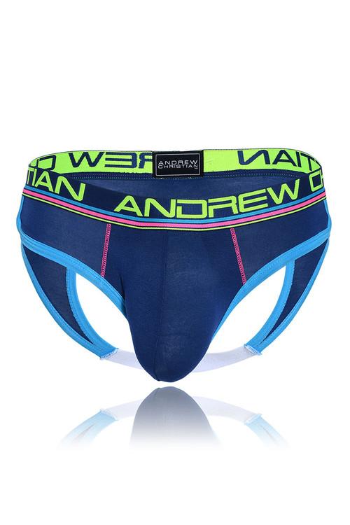 Andrew Christian CoolFlex Modal Locker Room Jock w/ Show-It 91183-NV - Navy Blue - Mens Jock Briefs - Garment View - Topdrawers Underwear for Men