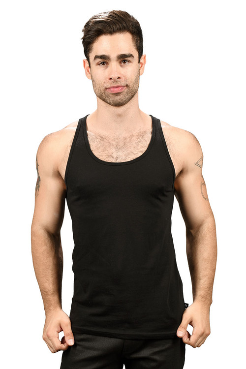Andrew Christian Happy Tagless Tank Top 2561-BL - Black - Mens Tank Tops - Front View - Topdrawers Underwear for Men