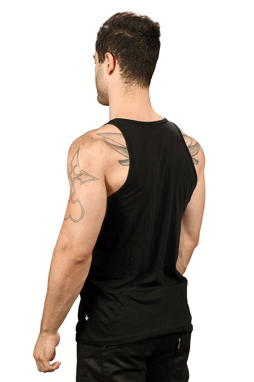 Andrew Christian Happy Tagless Tank Top 2561-BL - Black - Mens Tank Tops - Rear View - Topdrawers Underwear for Men