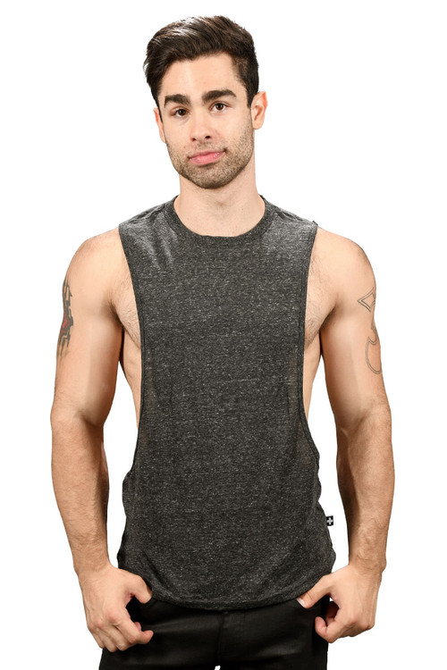 Andrew Christian Happy Tagless Gym Tank 2679-VBL - Vintage Black - Mens Tank Tops - Front View - Topdrawers Underwear for Men