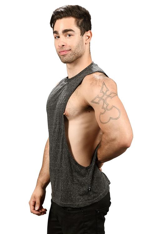 Andrew Christian Happy Tagless Gym Tank 2679-VBL - Vintage Black - Mens Tank Tops - Side View - Topdrawers Underwear for Men
