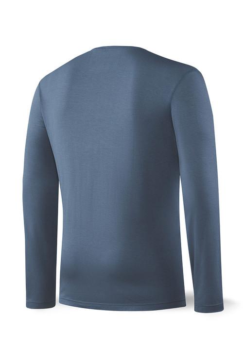 Saxx Sleepwalker Tee L/S SXLT34-DDN Dark Denim - Mens Pyjama Shirts - Rear View - Topdrawers Sleepwear for Men