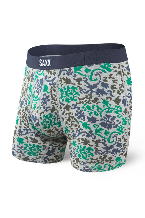Saxx Undercover Boxer Brief w/ Fly SXBB19F-GDB Grey Digital Baroque - Mens Boxer Briefs - Front View - Topdrawers Underwear for Men
