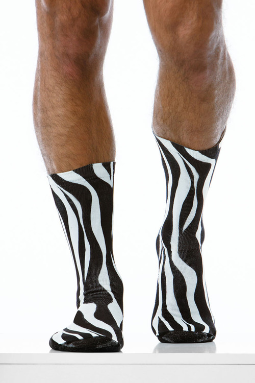 Modus Vivendi Zebra Socks XS1921 - Mens Long Socks - Front View - Topdrawers Underwear for Men