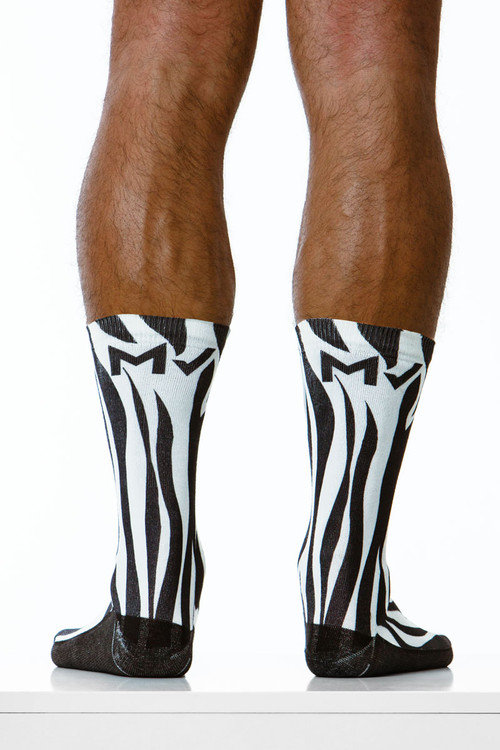 Modus Vivendi Zebra Socks XS1921 - Mens Long Socks - Rear View - Topdrawers Underwear for Men