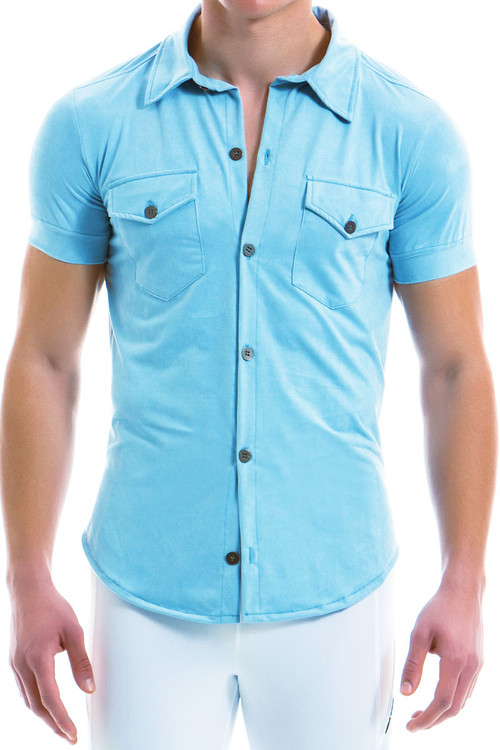 Modus Vivendi Suede Shirt 13941-LBU - Light Blue - Mens Short Sleeve Shirts - Front View - Topdrawers Clothing for Men