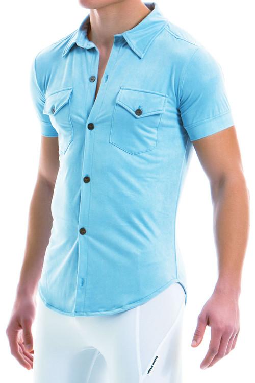 Modus Vivendi Suede Shirt 13941-LBU - Light Blue - Mens Short Sleeve Shirts - Side View - Topdrawers Clothing for Men