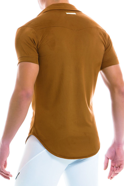 Modus Vivendi Suede Shirt 13941-CML - Camel - Mens Short Sleeve Shirts - Rear View - Topdrawers Clothing for Men