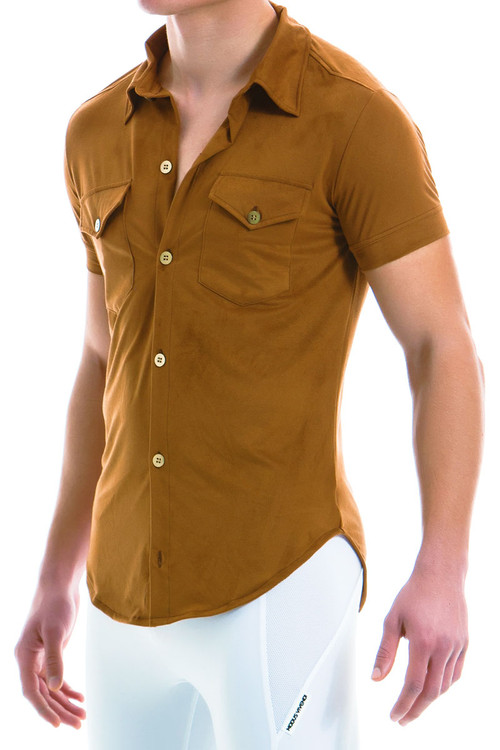Modus Vivendi Suede Shirt 13941-CML - Camel - Mens Short Sleeve Shirts - Side View - Topdrawers Clothing for Men
