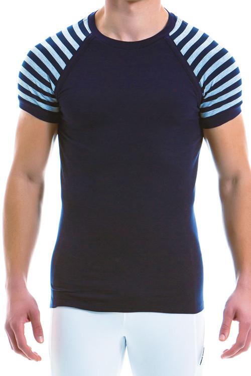 Modus Vivendi Striped T-Shirt 11941-GR - Grey - Mens T-Shirts - Front View - Topdrawers Underwear for Men
