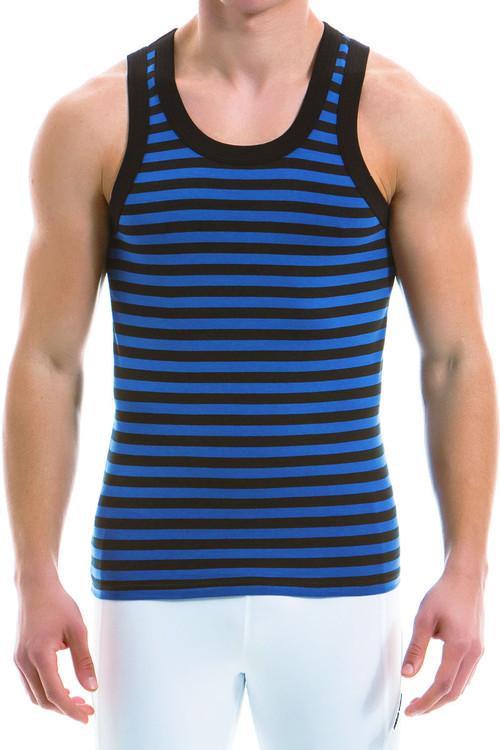 Modus Vivendi Striped Tanktop 11931-BU - Blue - Mens Tank Top Singlets - Front View - Topdrawers Underwear for Men