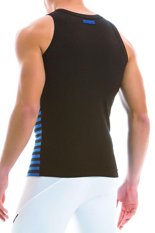 Modus Vivendi Striped Tanktop 11931-BU - Blue - Mens Tank Top Singlets - Rear View - Topdrawers Underwear for Men